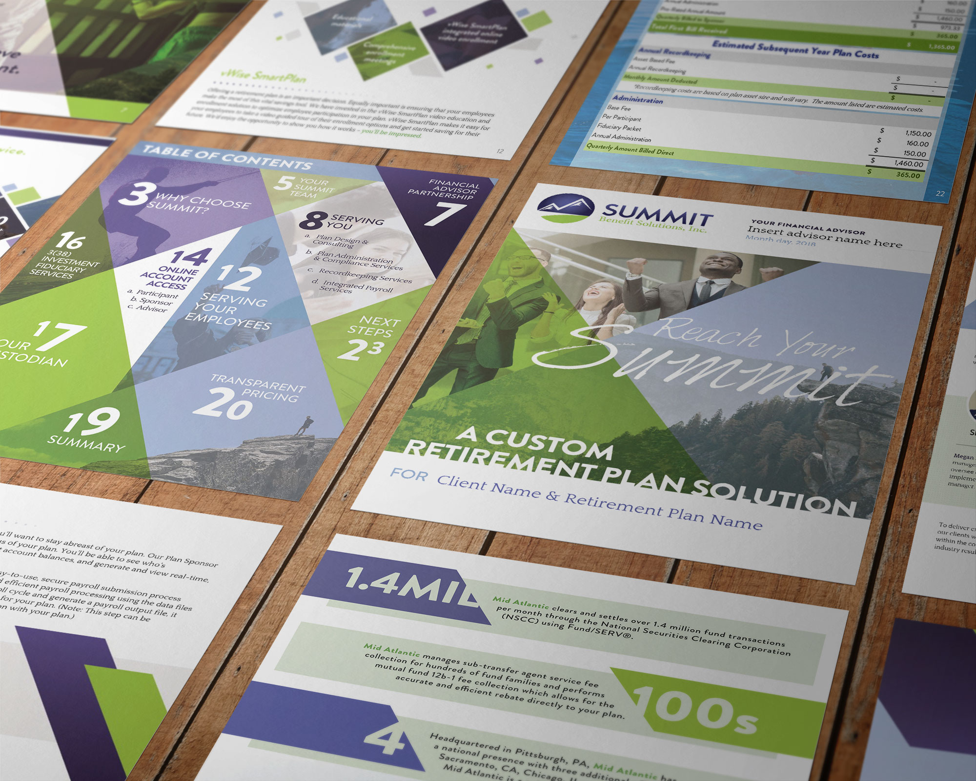 10 custom proposal page designs all laid out on a table