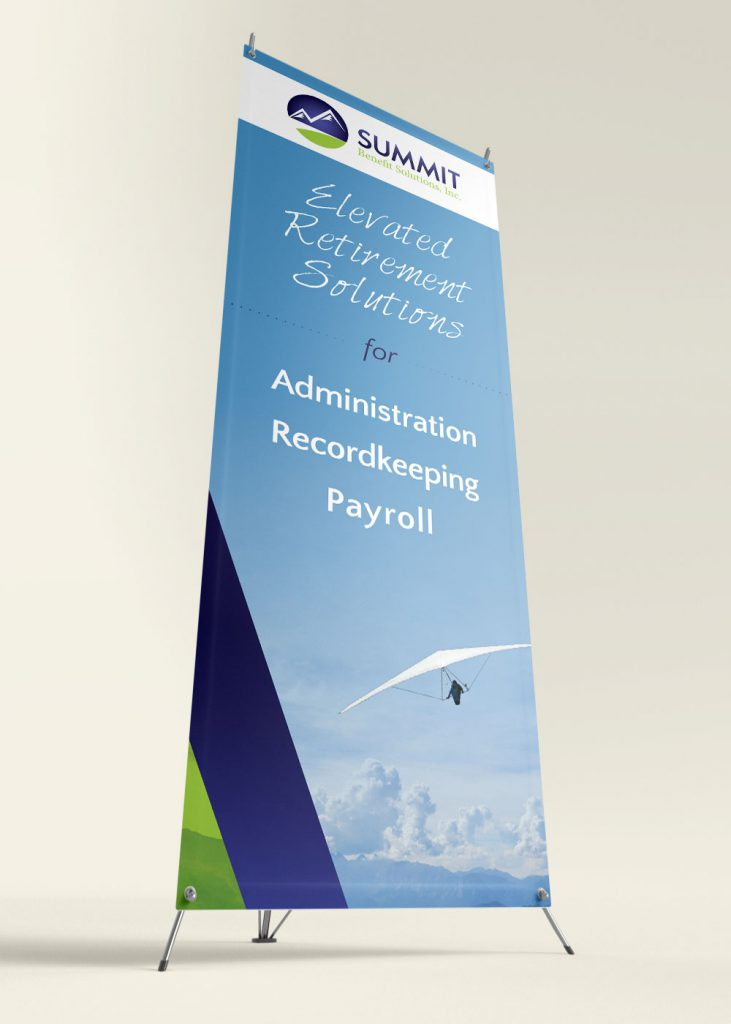 Summit standing banner for trade show events