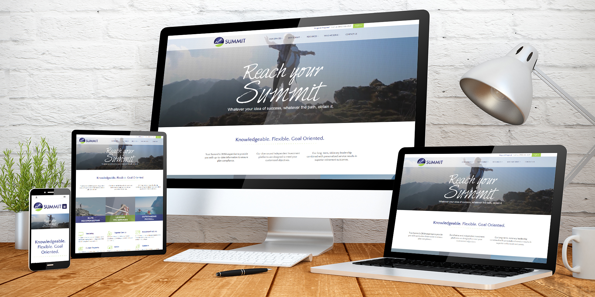 Summit web home page displayed across four devices of varying screen sizes