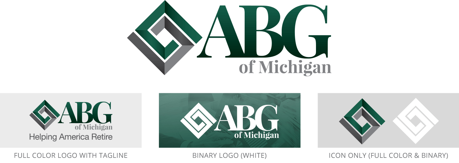 ABG of Michigan logo set, including official full color, binary color, tagline, and icon versions