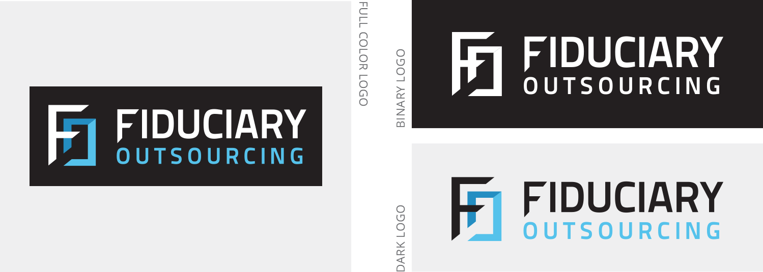 Fiduciary Outsourcing logo set, including official full color, dark color, and binary color versions.