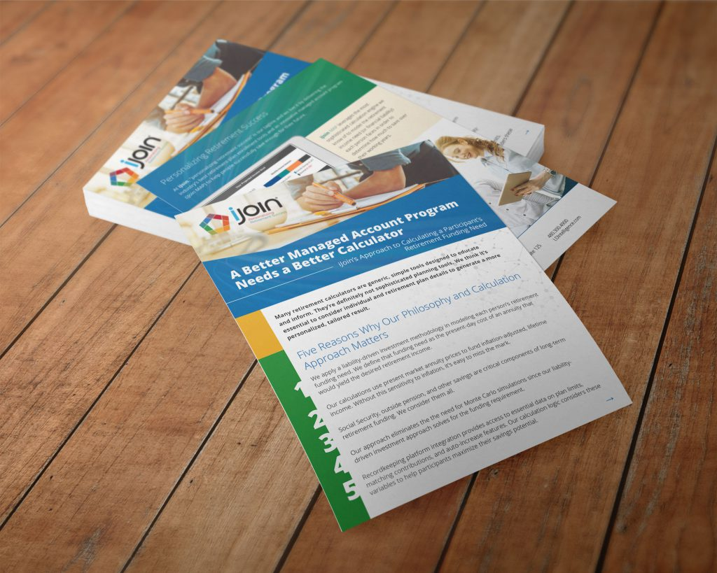 Stack of iJoin one-page info sheets