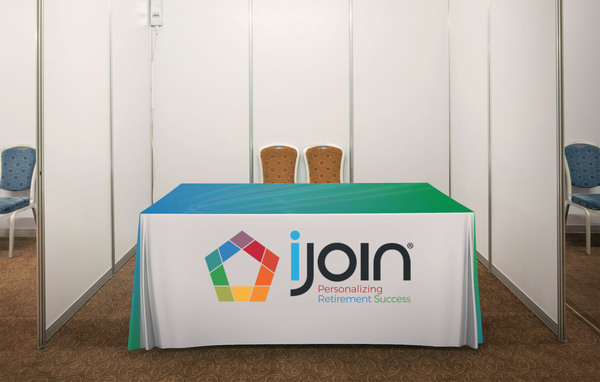 Photo: iJoin custom table throw for trade show booths
