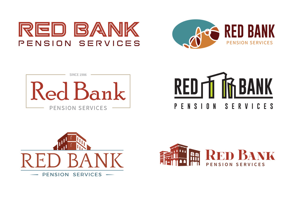 Set of 6 different logo ideas proposed to the client in the first round of the design project