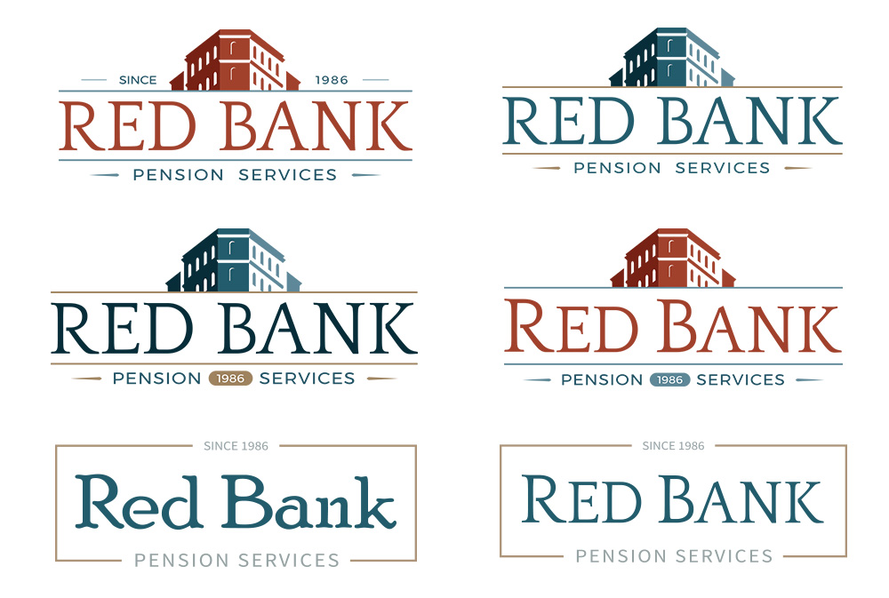 Set of 6 different logo ideas (these more homogenous than the first set) proposed to the client in the second round of this project