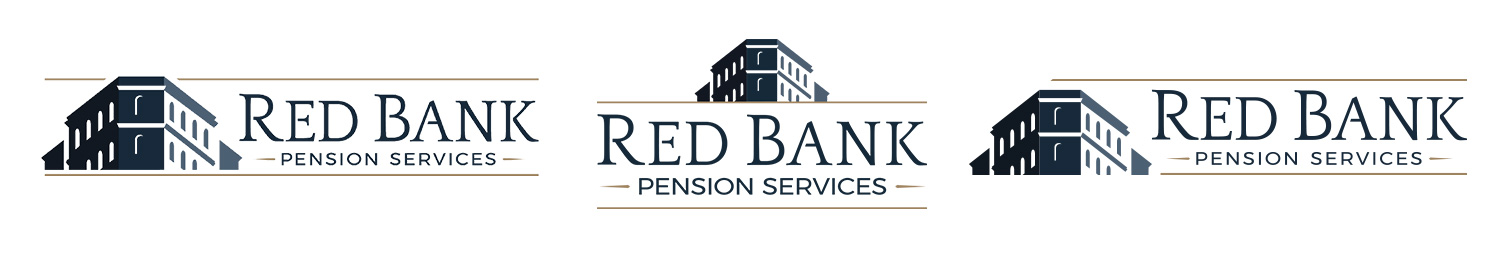 Three very similar logos produced for Red Bank Pension as they resolved closer to their final decision in Round Three