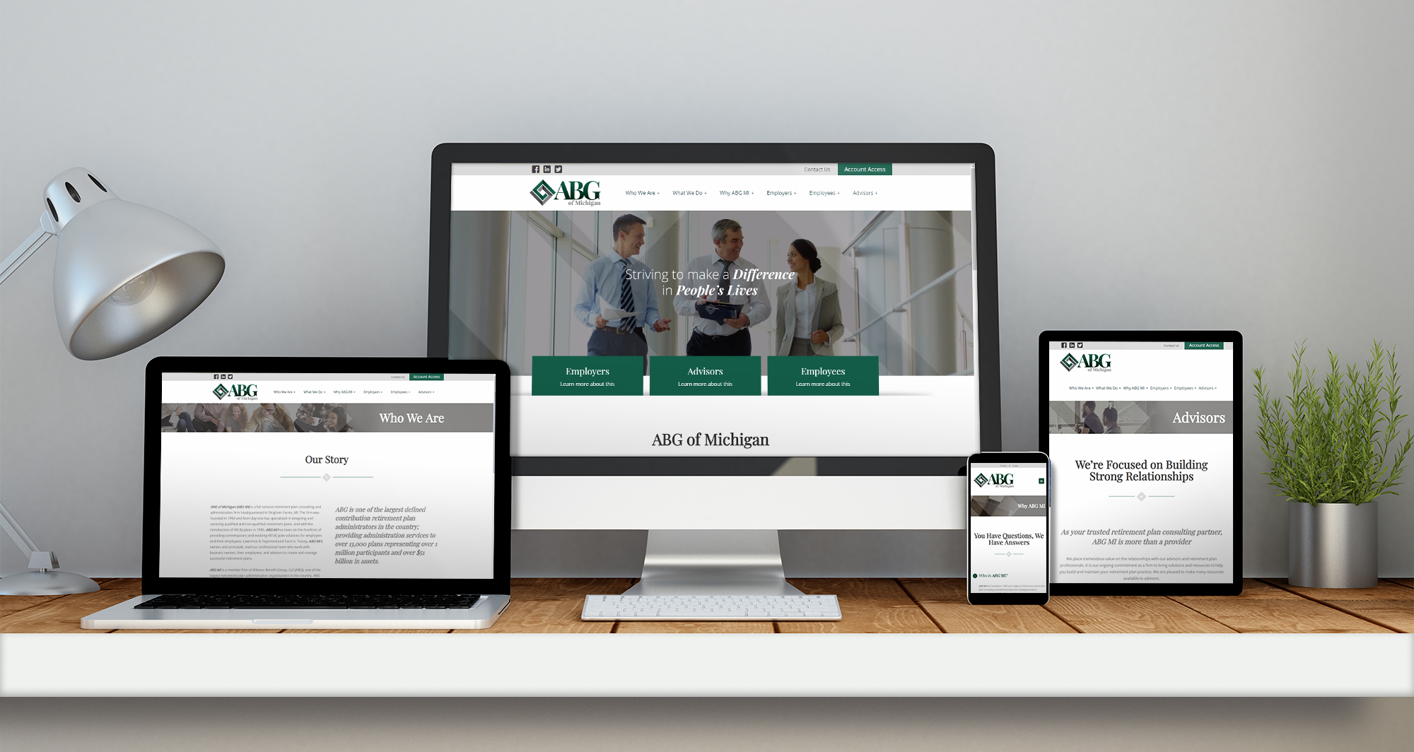 ABGMI web design displayed across four devices of varying sizes
