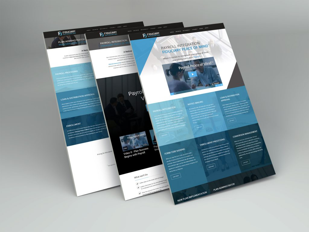3 screen captures of the Fiduciary Outsourcing website design