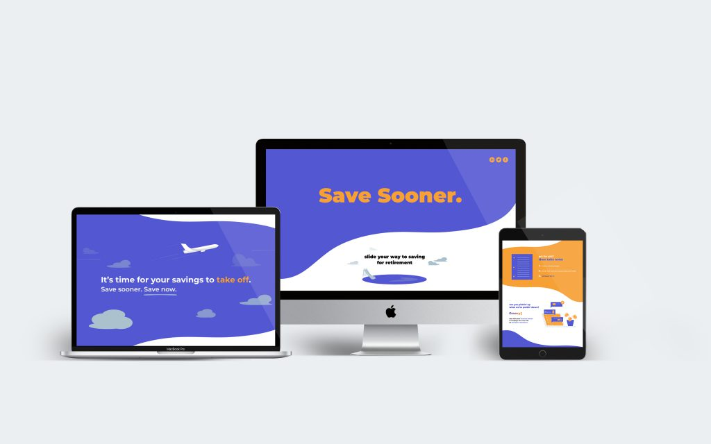 Save Sooner web design displayed across a desktop monitor, a laptop, and a tablet