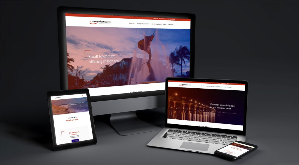 The Pension Source home page displayed across several devices of varying screen sizes