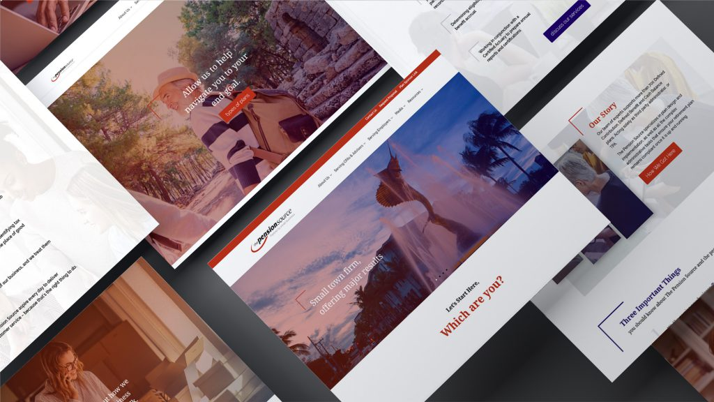 Several screen captures of The Pension Source website design