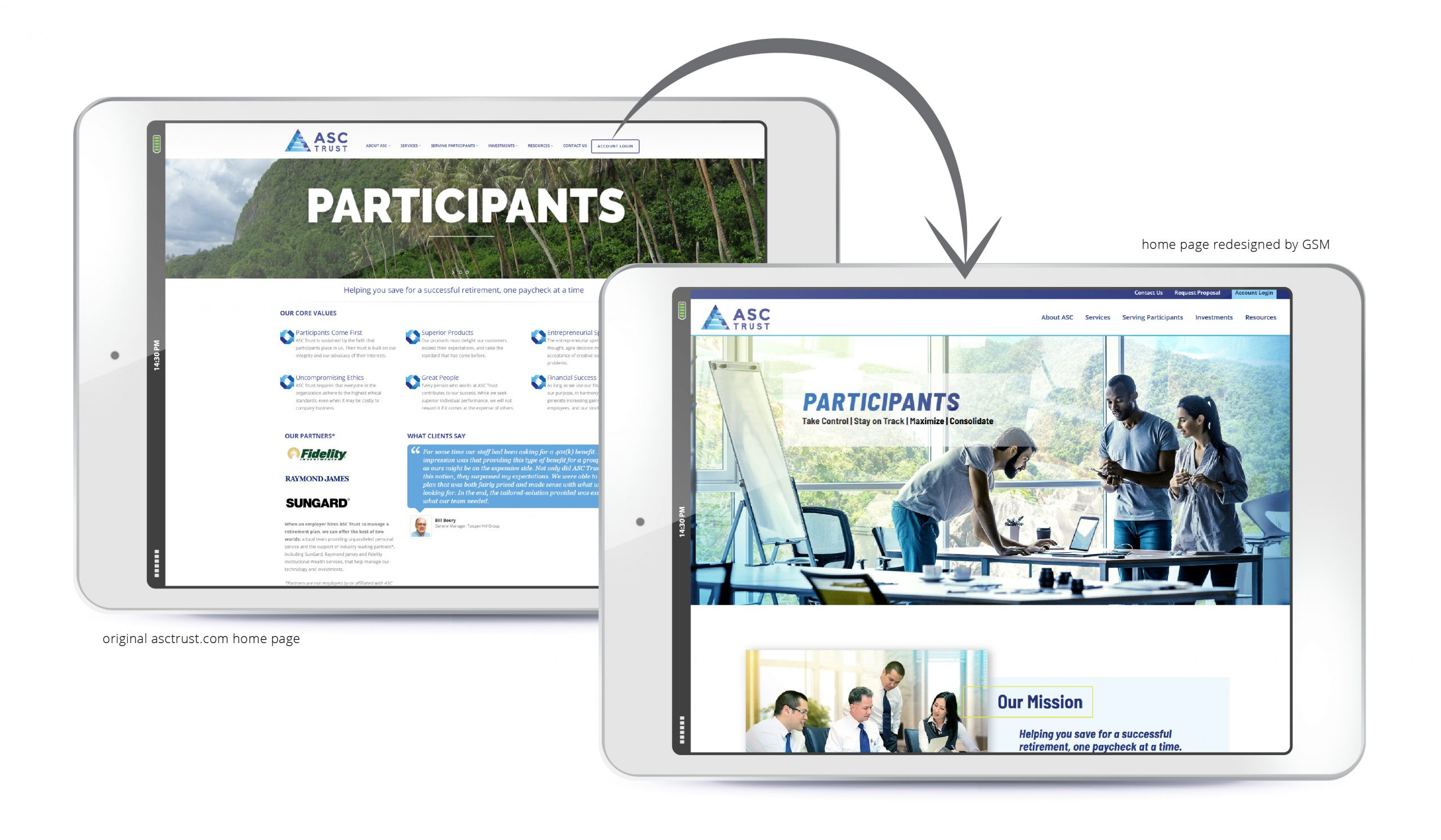 ASC Trust before-and-after website redesign