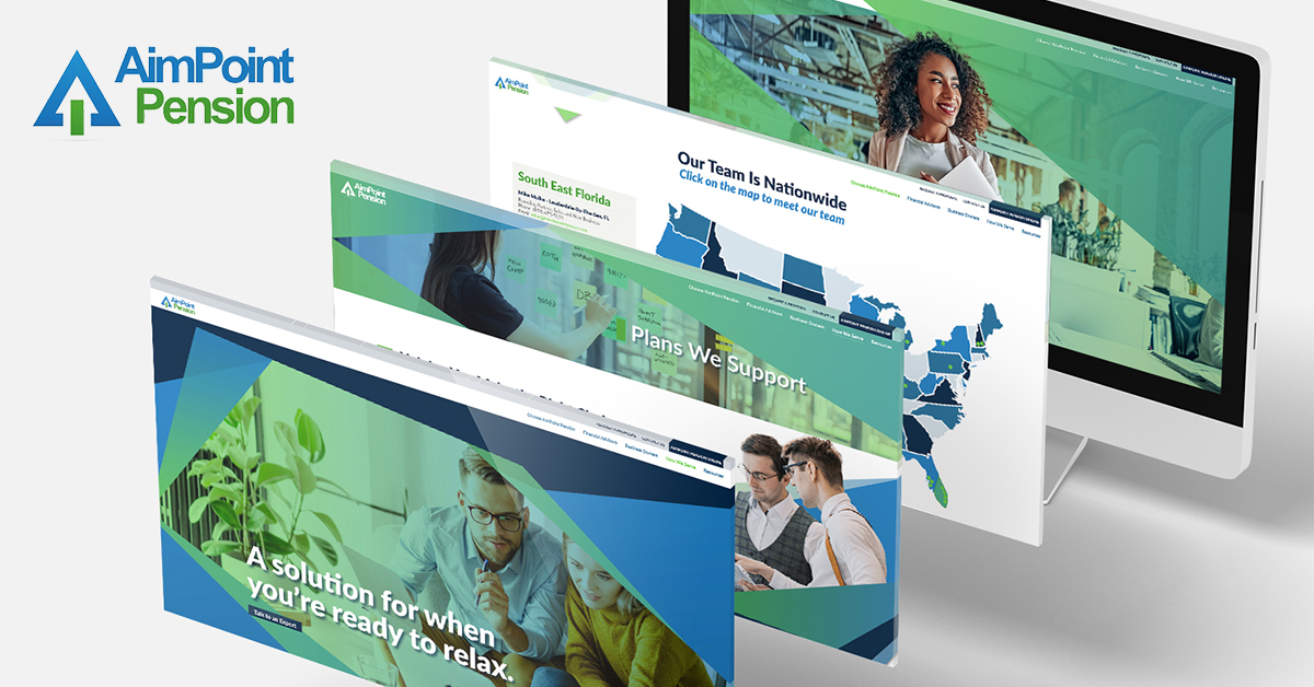 Four screen captures of AimPoint's web design