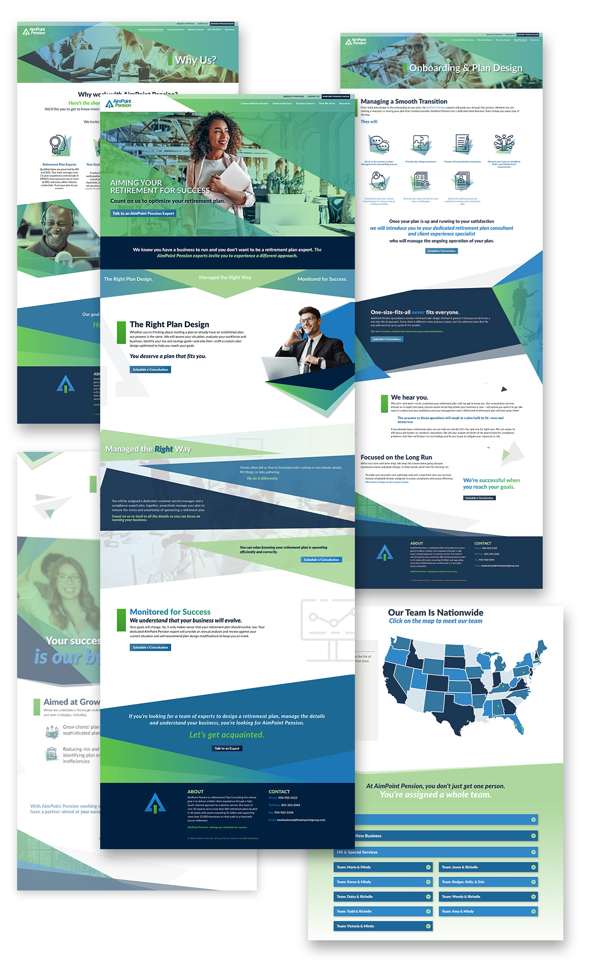 Multiple full-page screen captures of AimPoint's web design