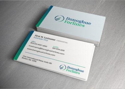 Photo of Donoghue Forlines business card design