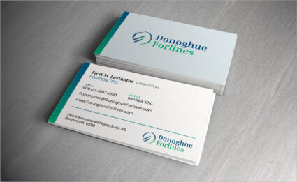 Photo of Donoghue Forlines business card design
