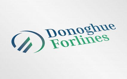 Donoghue Forlines logo embossed on a white sheet of paper