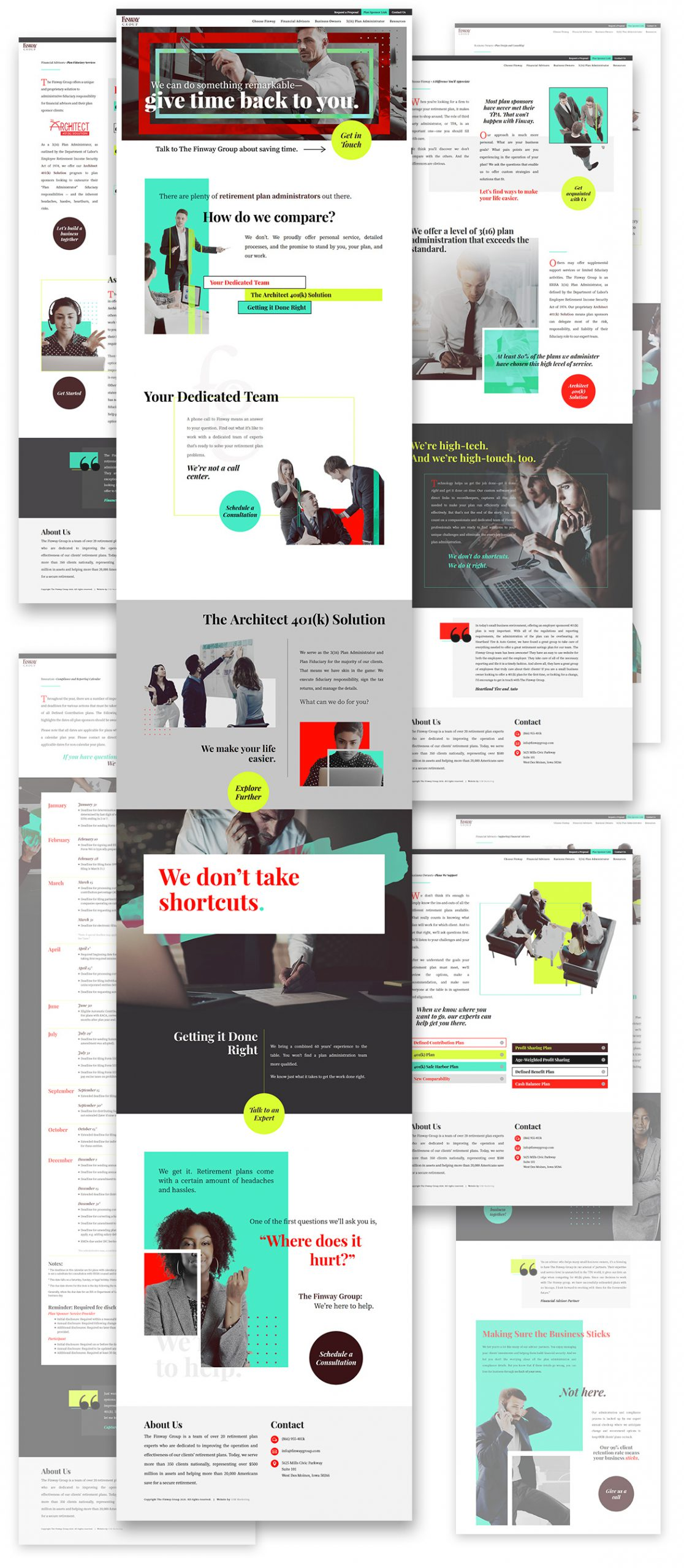 A composition showcasing multiple full pages from The Finway Group's website
