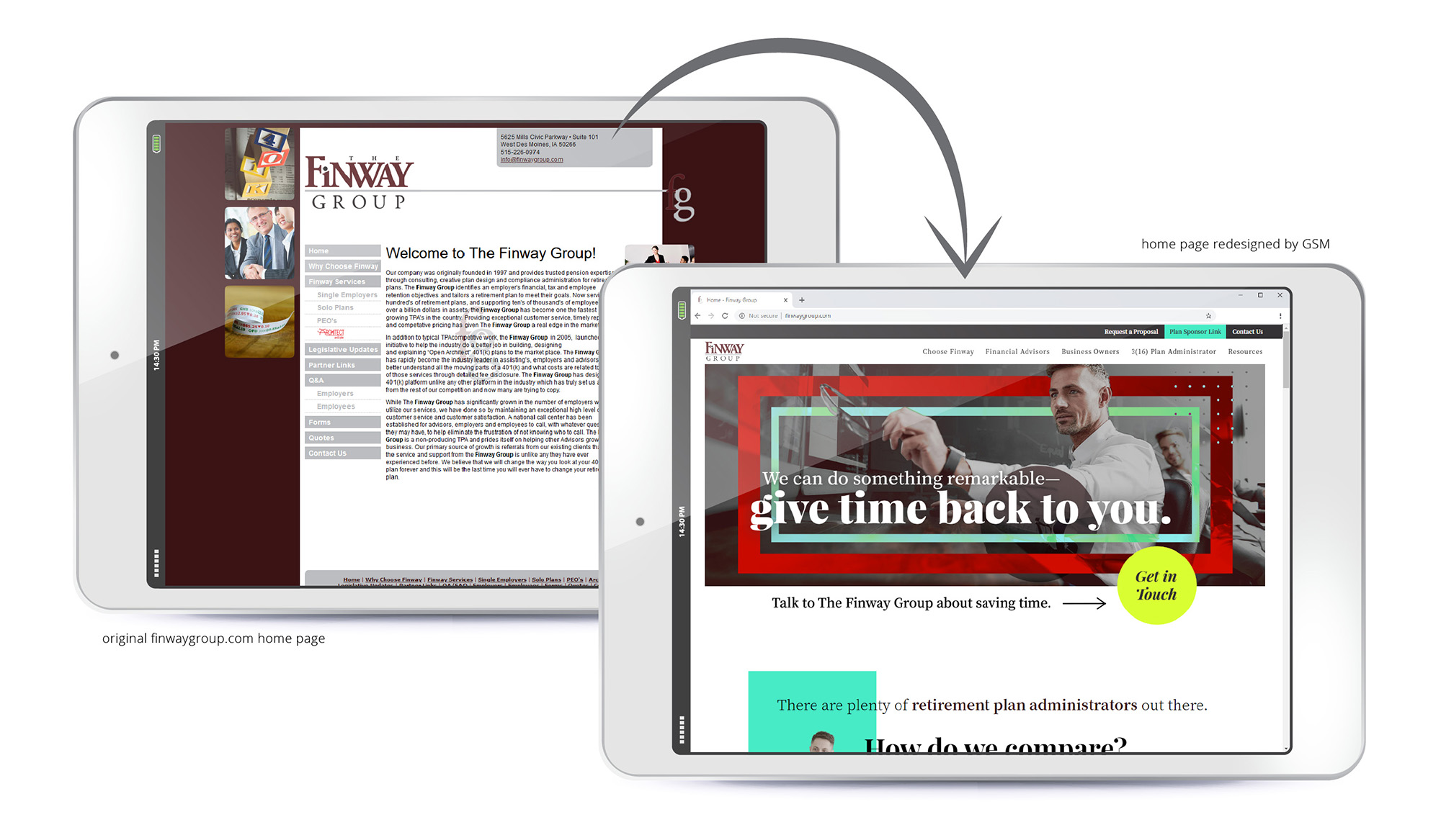 A composition showcasing the before-and-after of The Finway Group's website redesign