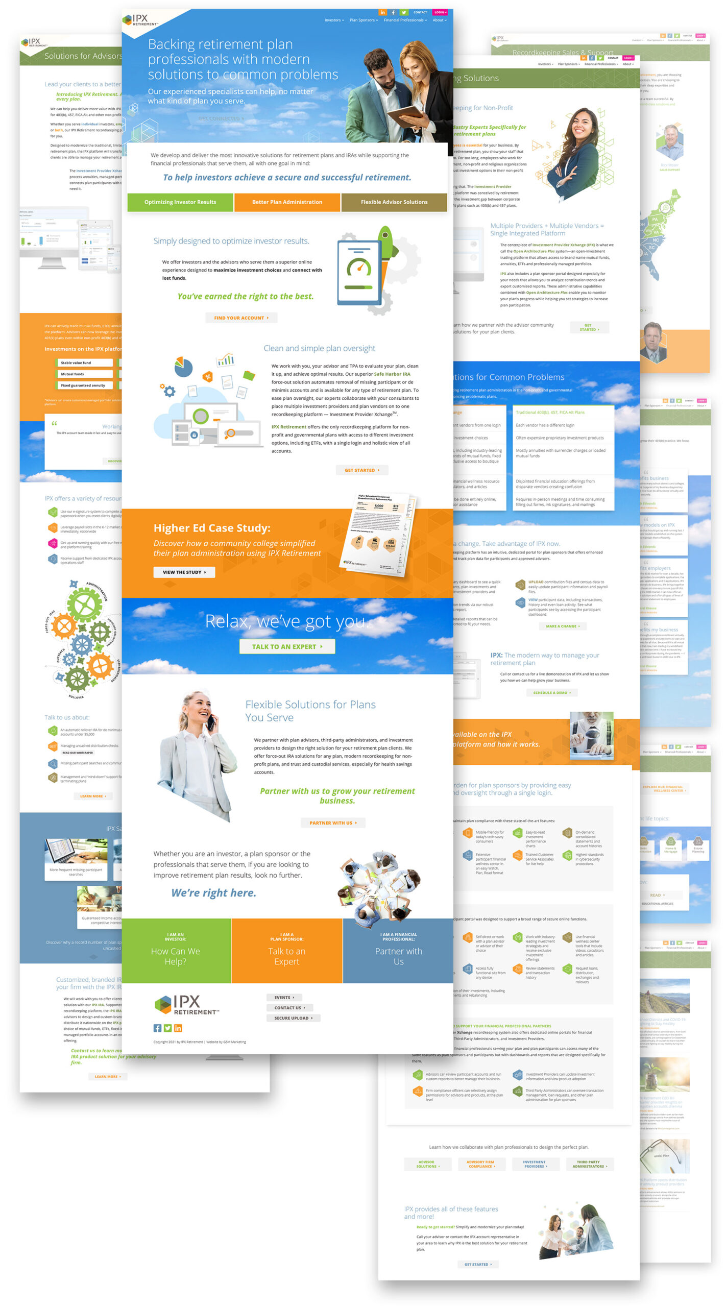 Flat composition displaying full webpage designs