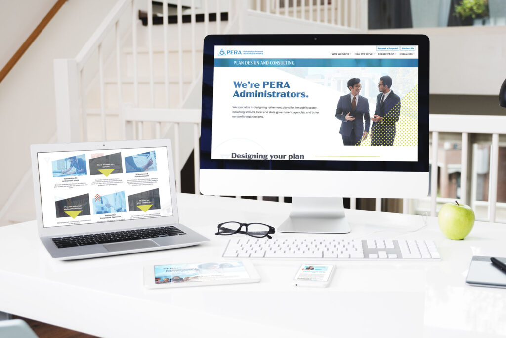 Photo of the PERA Administrators website displayed across several devices of varying sizes
