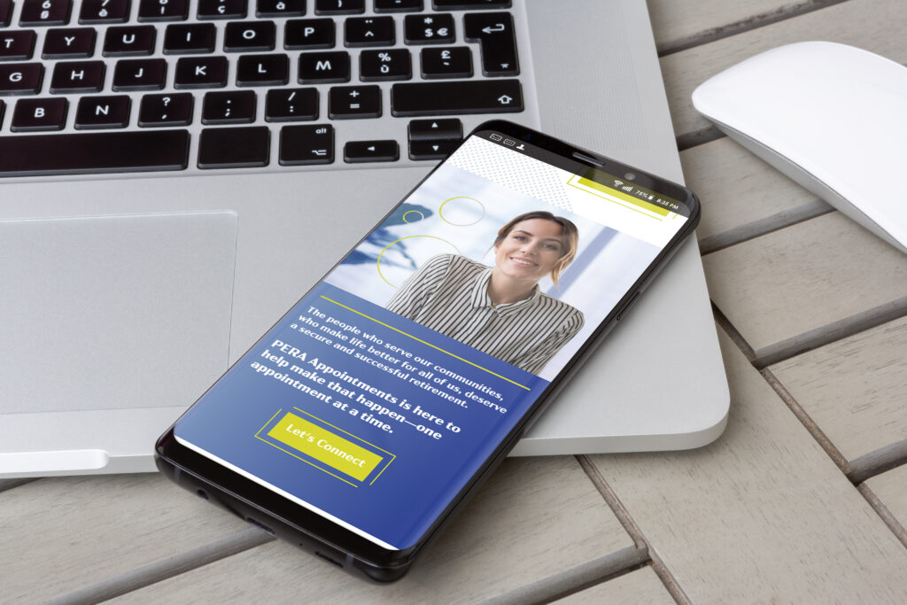 Photo of the PERA Appointments website displayed on a smartphone