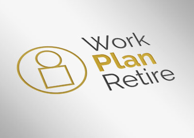 Work Plan Retire logo embossed on clean, white paper