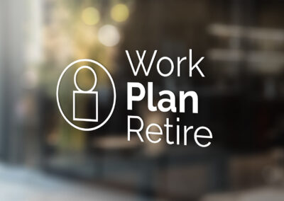 Photo of a Work Plan Retire logo decal, all white, on a glass office door