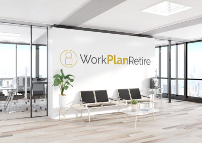Work Plan Retire logo large on an office wall