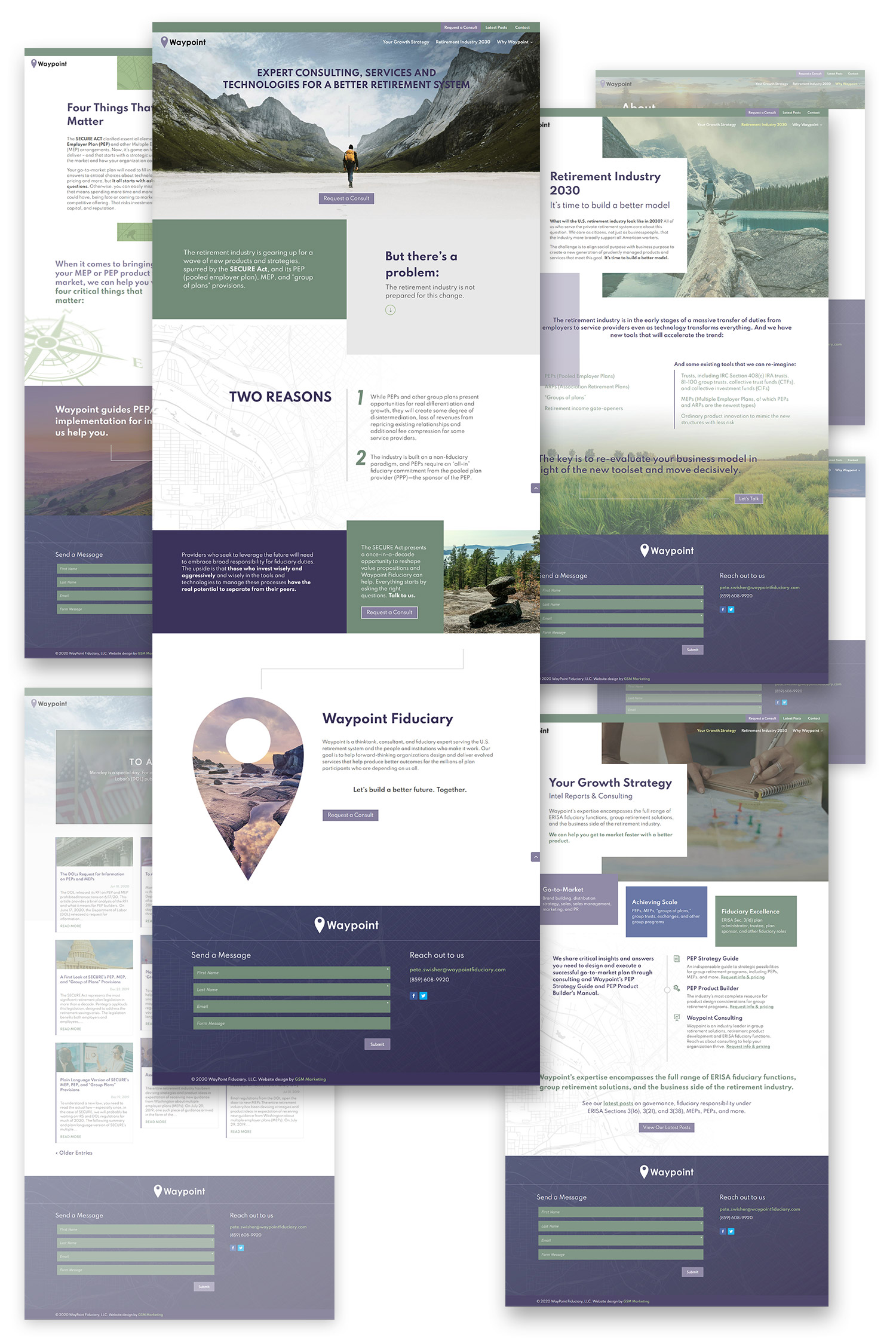 composition laying out multiple full web page designs