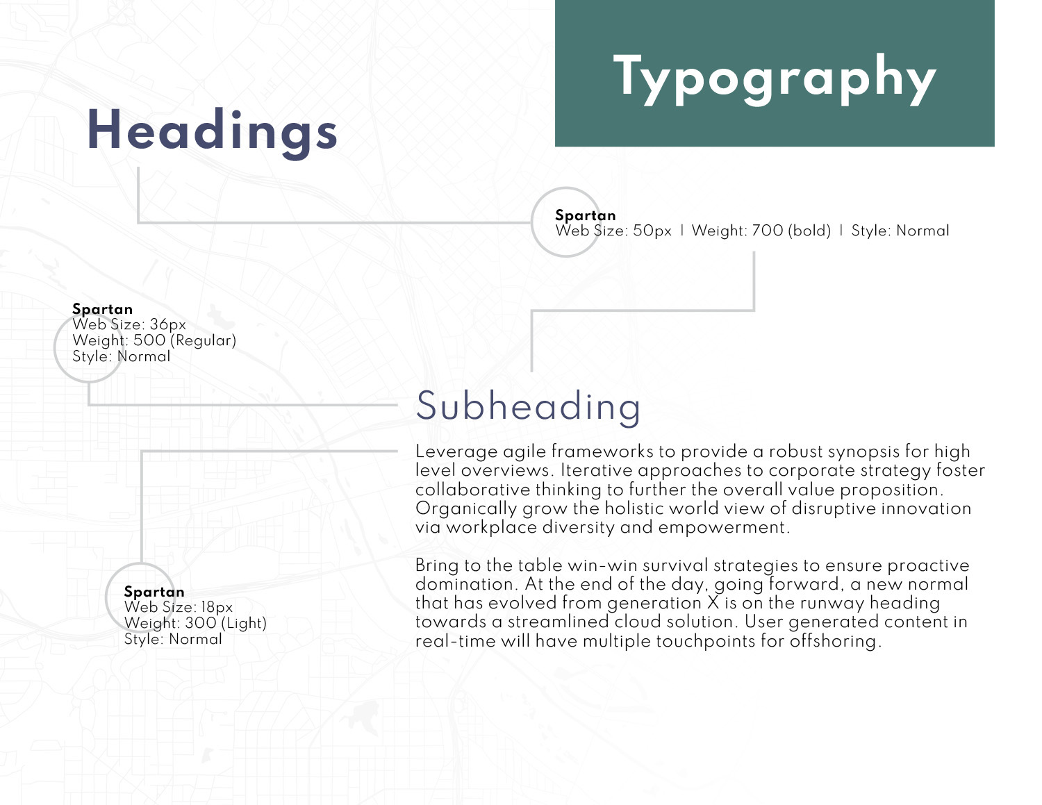 Slide demonstrating Waypoint's typography style