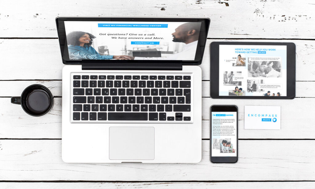Photo of the Encompass More website displayed on several devices of different sizes