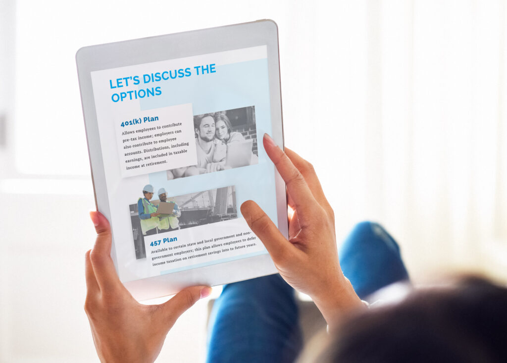 Photo of the Encompass More website displayed on a handheld tablet device
