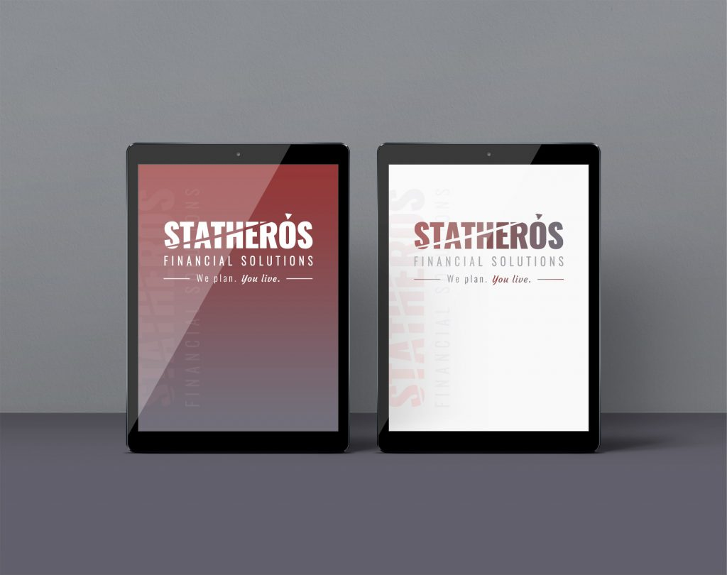 Two Statheros logos, one full-color and one white, displayed on side-by-side tablets