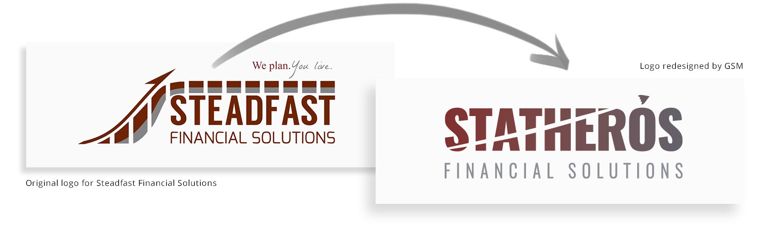 Before-and-after Statheros logo design