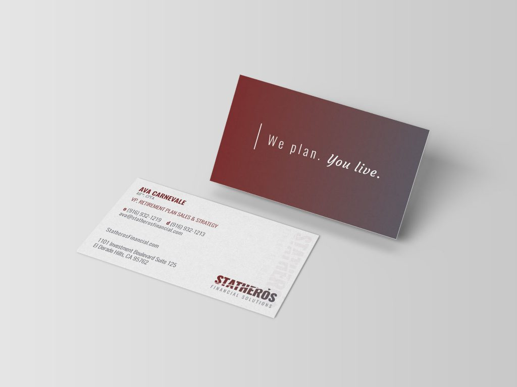 Statheros custom brand business card design