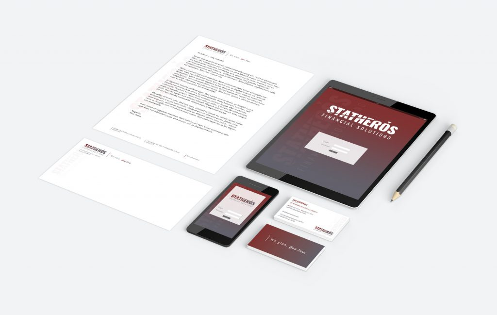 Statheros custom brand stationery arranged as a cohesive set