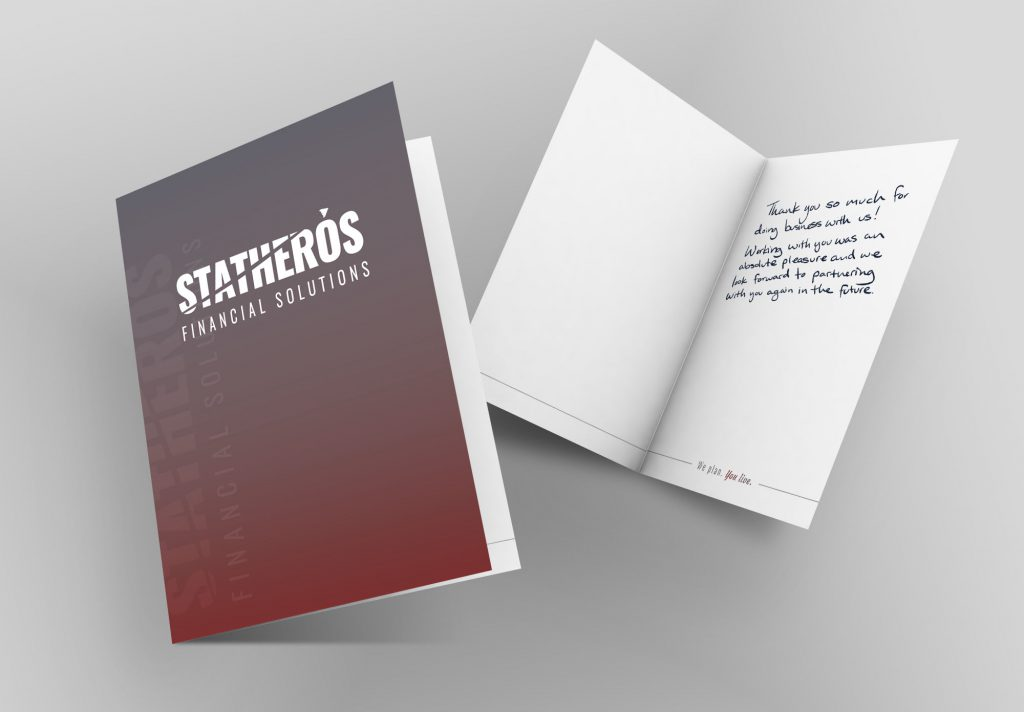 Statheros custom brand greeting card